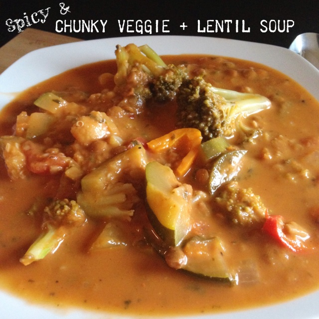 Spicy Chunky Veggie + Lentil Soup