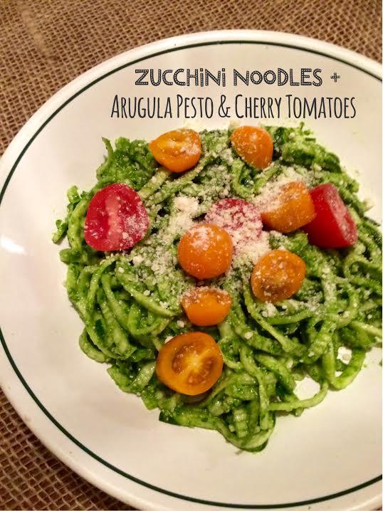 Zucchini Noodles + Arugula Pesto & Cherry Tomatoes