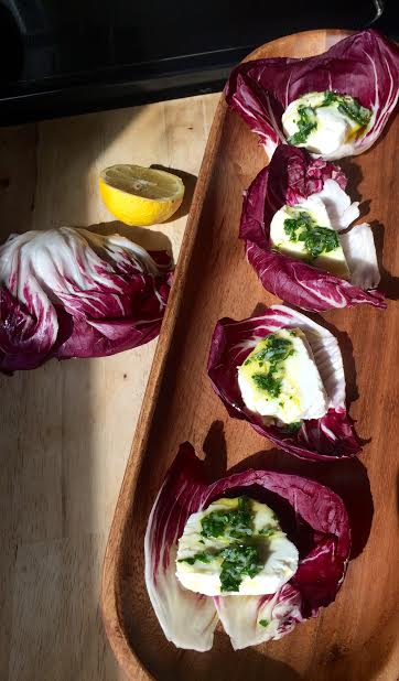 Goat Cheese + Lemon Vinaigrette Radicchio Boats